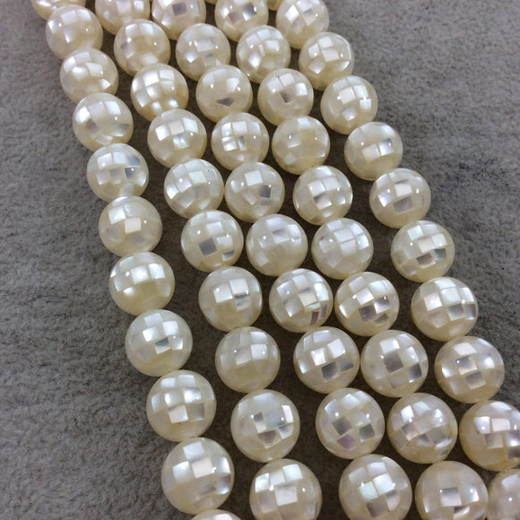 LOOSE BEADS - 10mm Pearly White Natural Mother of Pearl Inlaid Round/Ball Beads with 1mm Holes - Sold in Pre-Packed Bags of 10 Beads