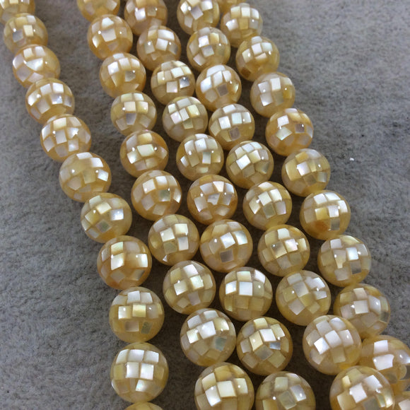 LOOSE BEADS - 10mm Pearly Yellow Natural Mother of Pearl Inlaid Round/Ball Beads with 1mm Holes - Sold in Pre-Packed Bags of 10 Beads