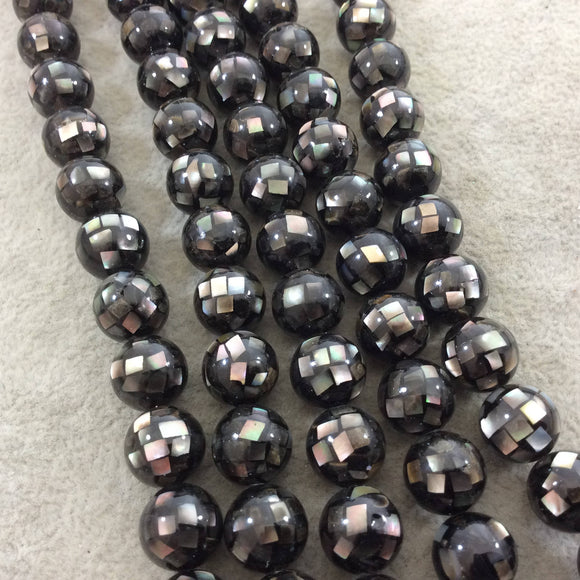 LOOSE BEADS - 10mm Pearly Black/Gray Natural Mother of Pearl Inlaid Round/Ball Beads with 1mm Holes - Sold in Pre-Packed Bags of 10 Beads