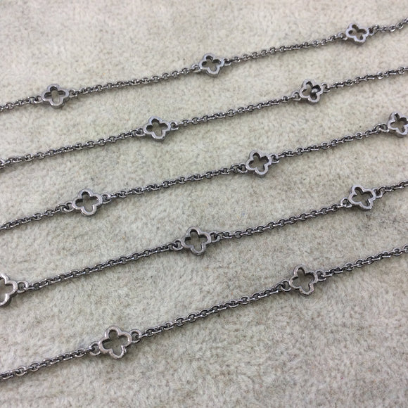 Gunmetal Plated Copper Cable Link Rosary Chain with 6mm Quatrefoil/Clover Shaped Connectors (CH287-GM) - Sold by 1' Cut Sections!