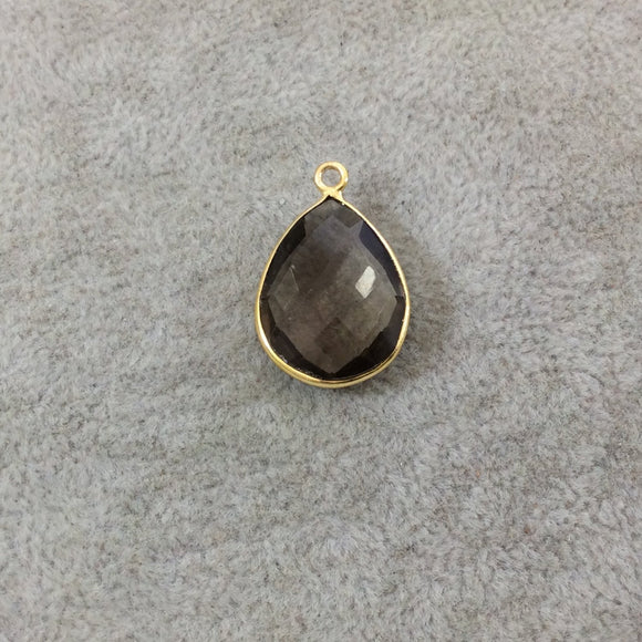 Gold Plated Faceted Smoky Brown Hydro (Lab Created) Quartz Teardrop/Pear Shaped Bezel Pendant - Measuring 15mm x 20mm - Sold Individually