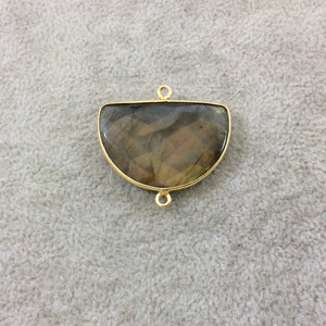 Gold Plated Faceted Natural Labradorite Half-Moon Shaped Bezel Connector - Measuring 30mm x 20mm - Sold Individually, Chosen Random