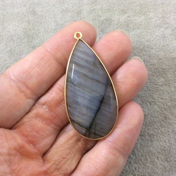 Single OOAK Gold Plated Faceted Natural Iridescent Labradorite Teardrop Shaped Flat-Backed Bezel Pendant