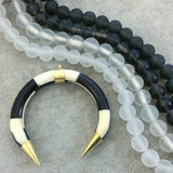"14mm Matte Trans. White Centered Irregular Rondelle Shaped Indian Beach/Sea Glass Beads - Sold by 16"" Strands - Approx. 28 Beads"