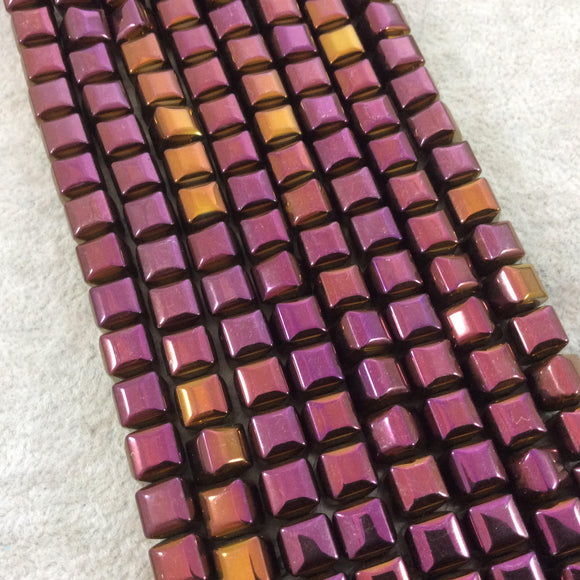 8mm Glossy Finish Faceted Metallic Purple/Gold Coated Hematite Cube Shaped Beads with 1mm Holes - Sold by 16