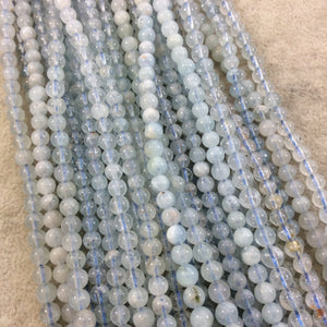 "4-5mm Glossy Finish Natural Light Blue Aquamarine Round/Ball Shaped Beads with 1mm Holes - Sold by 15.75"" Strands (Approximately 88 Beads)"