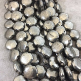 "16mm Glossy Finish Natural Metallic Pyrite Quatrefoil Shaped Beads with 1mm Holes - 15.5"" Strand (Approx. 25 Beads) - Quality Gemstone"