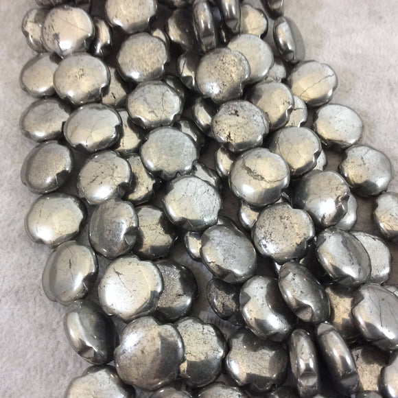 16mm Glossy Finish Natural Metallic Pyrite Quatrefoil Shaped Beads with 1mm Holes - 15.5