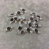 BULK LOT - Pack of Six (6) Sterling Silver Pointed/Cut Stone Faceted Round/Coin Shaped Smoky Quartz Bezel Connectors - Measuring 5mm x 5mm
