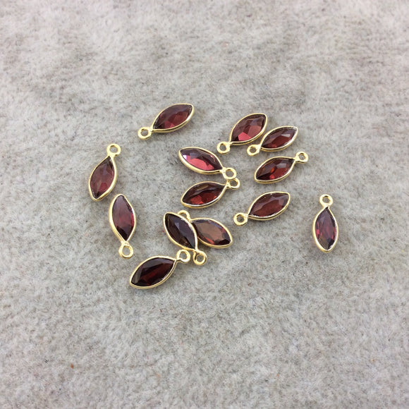 BULK LOT - Pack of Six (6) Gold Vermeil Pointed/Cut Stone Faceted Marquise Shaped Deep Red Garnet Bezel Pendants - Measuring 4mm x 8mm
