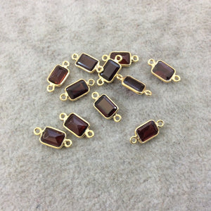 BULK LOT - Pack of Six (6) Gold Vermeil Pointed/Cut Stone Faceted Rectangle Shaped Deep Red Garnet Bezel Connectors - Measuring 5mm x 7mm