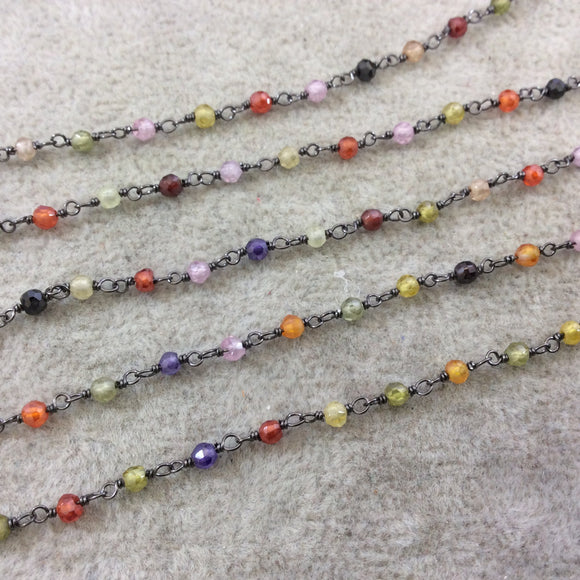 Gunmetal Plated Copper Rosary Chain with 3mm Faceted Multicolor Cubic Zirconia Round/Ball Beads (CH076-GM) - Sold by 1' Cut Sections!