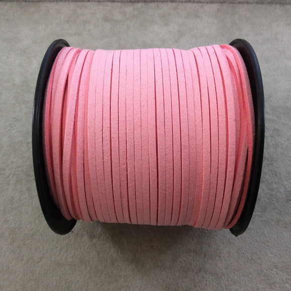 FULL SPOOL - Matte Light Pink Faux Micro Suede Jewelry Cord - Measuring 1.5mm x 2.5mm - 325 Feet (100 Meters) - Imitation VEGAN Leather