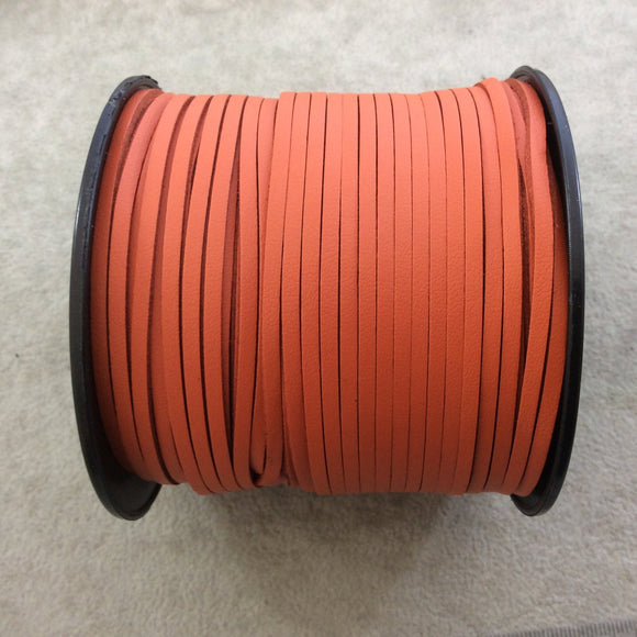 FULL SPOOL - Smooth Deep Orange Faux Leather Jewelry Cord - Measuring 1.5mm x 2.5mm - 325 Feet (100 Meters) - Imitation VEGAN Leather