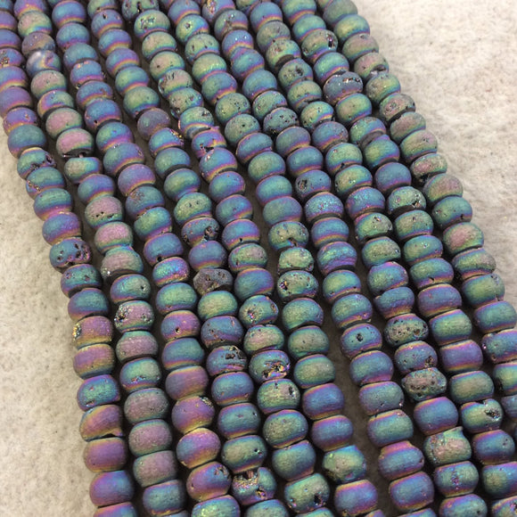 6mm Matte Finish Premium Rainbow Titanium Druzy Agate Rondelle Shaped Beads with 1mm Holes - Sold by 7.75