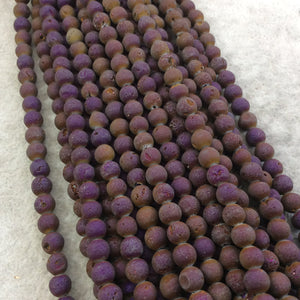 "6mm Matte Finish Premium Metallic Purple/Brown Druzy Agate Round/Ball Shaped Beads with 1mm Holes - Sold by 15.5"" Strands (Approx. 66 Beads)"