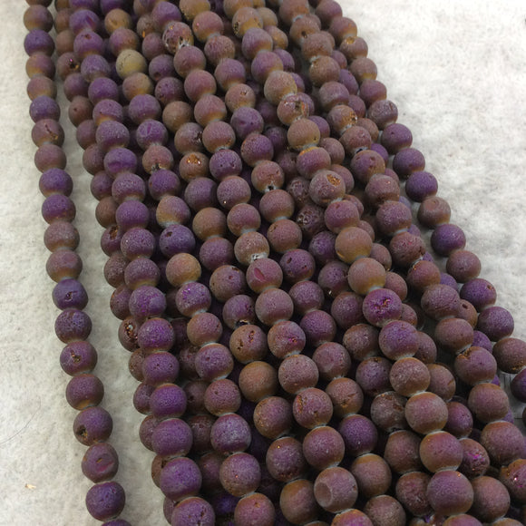 6mm Matte Finish Premium Metallic Purple/Brown Druzy Agate Round/Ball Shaped Beads with 1mm Holes - Sold by 15.5