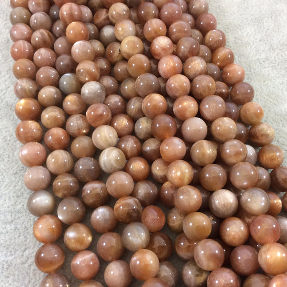 9mm Glossy Finish Natural AAA Peach Sunstone Round/Ball Shaped Beads with 1mm Holes - 15.25