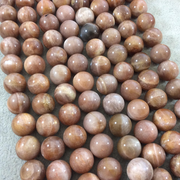 13mm Glossy Finish Natural AAA Peach Sunstone Round/Ball Shaped Beads with 1mm Holes - 15.5