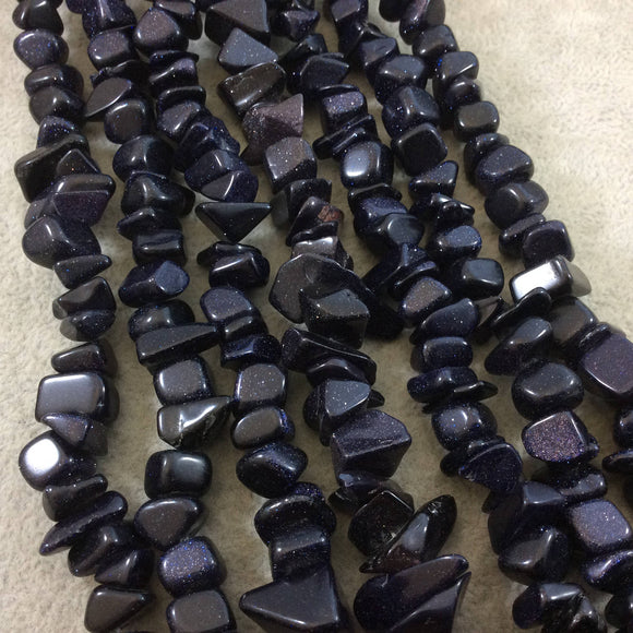 Blue Goldstone (Manmade Glass) Chunky Nugget Shape Beads with 1mm Holes - Sold by 16
