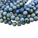 "10mm Matte Finish Premium Light Blue/Gold Druzy Agate Round/Ball Shaped Beads with 1mm Holes - Sold by 15.5"" Strands (Approx. 40 Beads)"