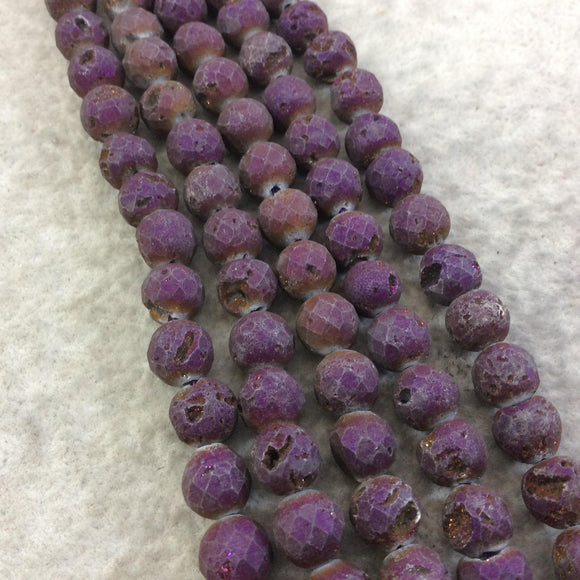 8mm Faceted Matte Finish Premium Purple/Bronze Druzy Agate Round Shaped Beads with 1mm Holes - Sold by 7.75
