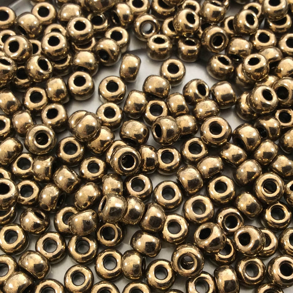 Size 6/0 Glossy Finish Metallic Bronze Genuine Miyuki Glass Seed Beads - Sold by 20 Gram Tubes (Approx. 200 Beads per Tube) - (6-9457)