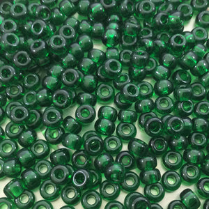 Size 6/0 Glossy Finish Transparent Green Genuine Miyuki Glass Seed Beads - Sold by 20 Gram Tubes (Approx. 200 Beads per Tube) - (6-9146)