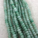 "5mm x 8mm Natural Green Aventurine Smooth Finish Rondelle Shaped Beads with 2.5mm Holes - 7.75"" Strand (Approx. 36 Beads) - LARGE HOLE BEADS"