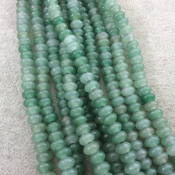 5mm x 8mm Natural Green Aventurine Smooth Finish Rondelle Shaped Beads with 2.5mm Holes - 7.75