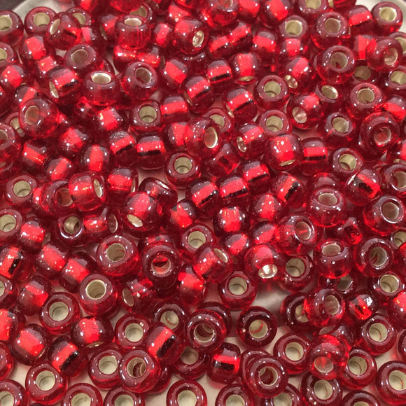 Size 6/0 Gloss Finish Silver Lined Ruby Red Genuine Miyuki Glass Seed Beads - Sold by 20 Gram Tubes (Approx. 200 Beads per Tube) - (6-9141S)