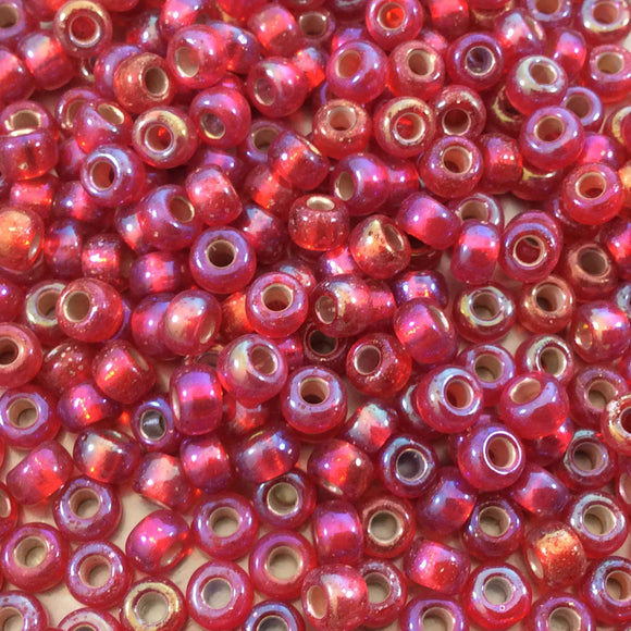 Size 6/0 AB Finish Silver Lined Flame Red Genuine Miyuki Glass Seed Beads - Sold by 20 Gram Tubes (Approx. 200 Beads per Tube) - (6-91010)