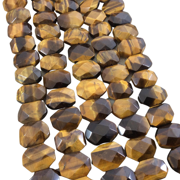 10mm x 14mm High Quality Natural Metallic Tiger Eye Faceted Flat Octagon Shaped Beads with 1mm Holes - Sold by 7.5