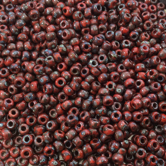 Size 8/0 Opaque Matte Picasso Red Garnet Genuine Miyuki Glass Seed Beads - Sold by 22 Gram Tubes (Approx. 900 Beads per Tube) - (8-94513)