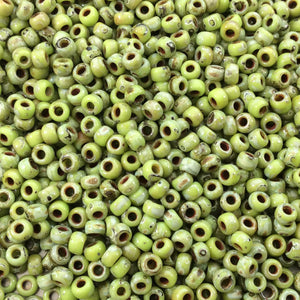 Size 8/0 Opaque Matte Picasso Chartreuse Genuine Miyuki Glass Seed Beads - Sold by 22 Gram Tubes (Approx. 900 Beads per Tube) - (8-94515)