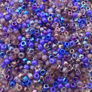 Size 8/0 Assorted Finish Lilac Mix Genuine Miyuki Glass Seed Beads - Sold by 22 Gram Tubes (Approx. 900 Beads per Tube) - (8-9MIX01)
