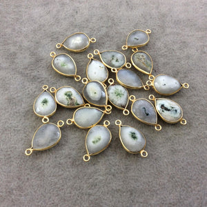 Gold Plated Faceted Natural White/Green Solar Quartz Teardrop Shaped Bezel Connector - Measuring 10mm x 15mm - Sold Individually, RANDOM