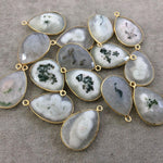 Gold Plated Faceted Natural White/Green Solar Quartz Teardrop Shaped Bezel Pendant - Measuring 18mm x 25mm - Sold Individually, RANDOM