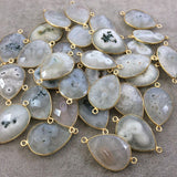 Gold Plated Faceted Natural White/Green Solar Quartz Teardrop Shaped Bezel Connector - Measuring 18mm x 25mm - Sold Individually, RANDOM