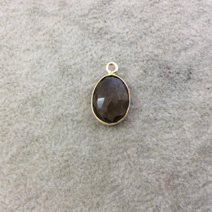 Gold Plated Faceted Smoky Brown Hydro (Lab Created) Quartz Egg/Oval Shaped Bezel Pendant - Measuring 10mm x 14mm - Sold Individually