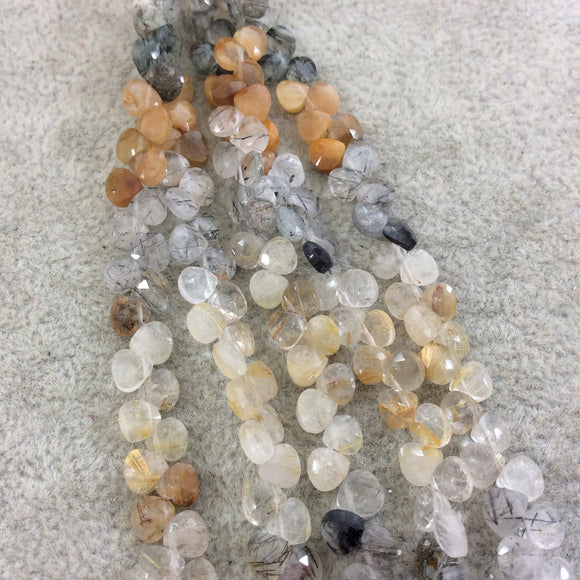 4mm Faceted Natural Mixed Rutilated Quartz Heart/Teardrop Shaped Beads - Sold by 6
