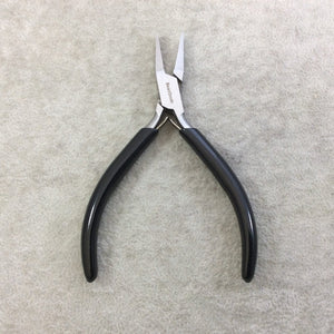 "4.5"" Beadsmith Super-fine Flat Nosed Polished Steel Pliers with PVC Comfort Grips - Slim Line Economy Jewelry-Making Tool - (PL656)"