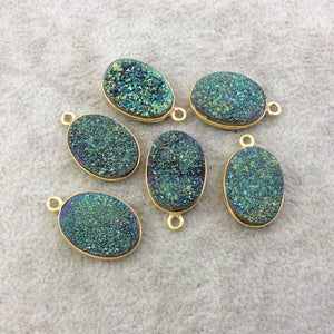 Gold Electroplated Natural Green/Blue Titanium Druzy Agate Oval Shaped Bezel Pendant - Measuring 13mm x 18mm, Approx. - Individual, Random