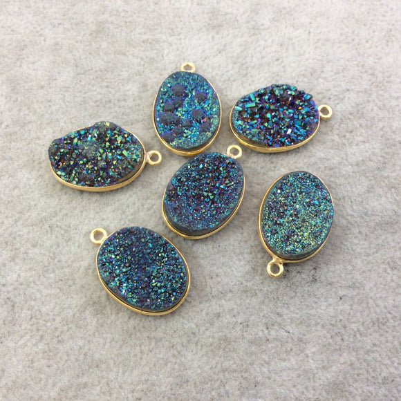 Gold Plated Natural Rainbow Titanium Druzy Agate Oval Shaped Bezel Pendant - Measuring 15mm x 20mm, Approx. - Individual, Random