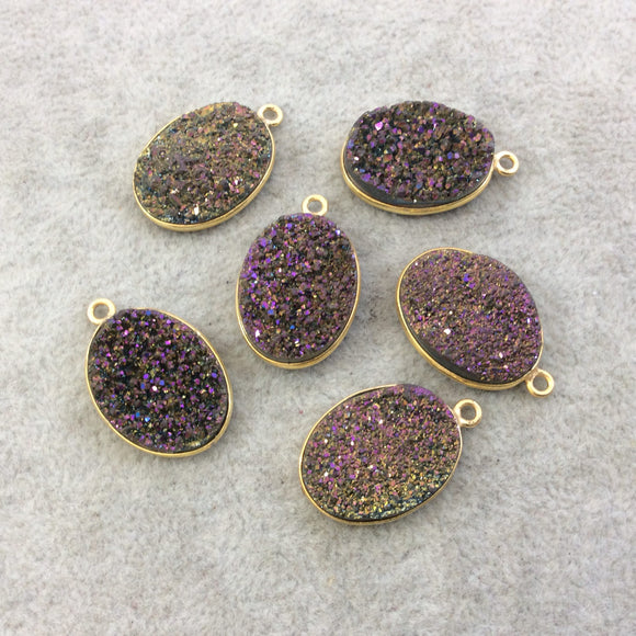 Gold Electroplated Natural Purple/Gold Titanium Druzy Agate Oval Shaped Bezel Pendant - Measuring 15mm x 20mm, Approx. - Individual, Random
