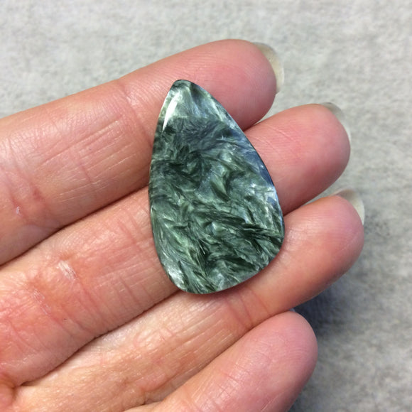 OOAK Natural Green Seraphinite Freeform Tear Shaped Flat Back Cabochon - Measuring 21mm x 33mm, 3.5mm Dome Height - Gemstone Cab