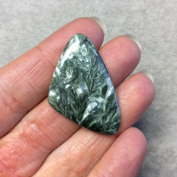 OOAK Natural Green Seraphinite Freeform Sail Shaped Flat Back Cabochon - Measuring 25mm x 40mm, 4.5mm Dome Height - Gemstone Cab