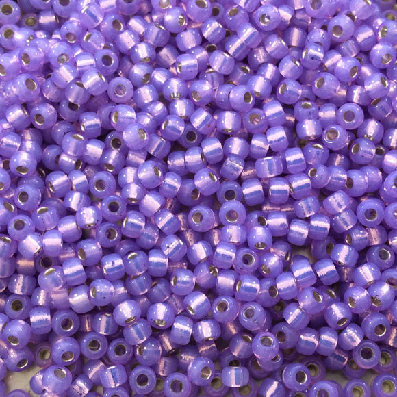 Size 8/0 Silver Lined Alabaster Lilac Purple Genuine Miyuki Glass Seed Beads - Sold by 22 Gram Tubes (Approx. 900 Beads per Tube) - (8-9574)