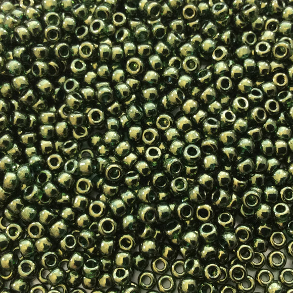 Size 8/0 Glossy Luster Finish Olive Gold Genuine Miyuki Glass Seed Beads - Sold by 22 Gram Tubes (Approx 900 Beads per Tube) - (8-9306)