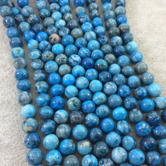 8mm Glossy Finish Dyed Blue Natural Crazy Lace Agate Round/Ball Shaped Beads with 1mm Holes - Sold by 15.5